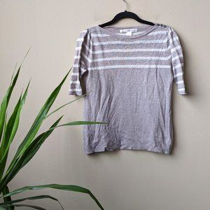 Ulla Johnson Taupe Striped Linen Pullover Knit Top